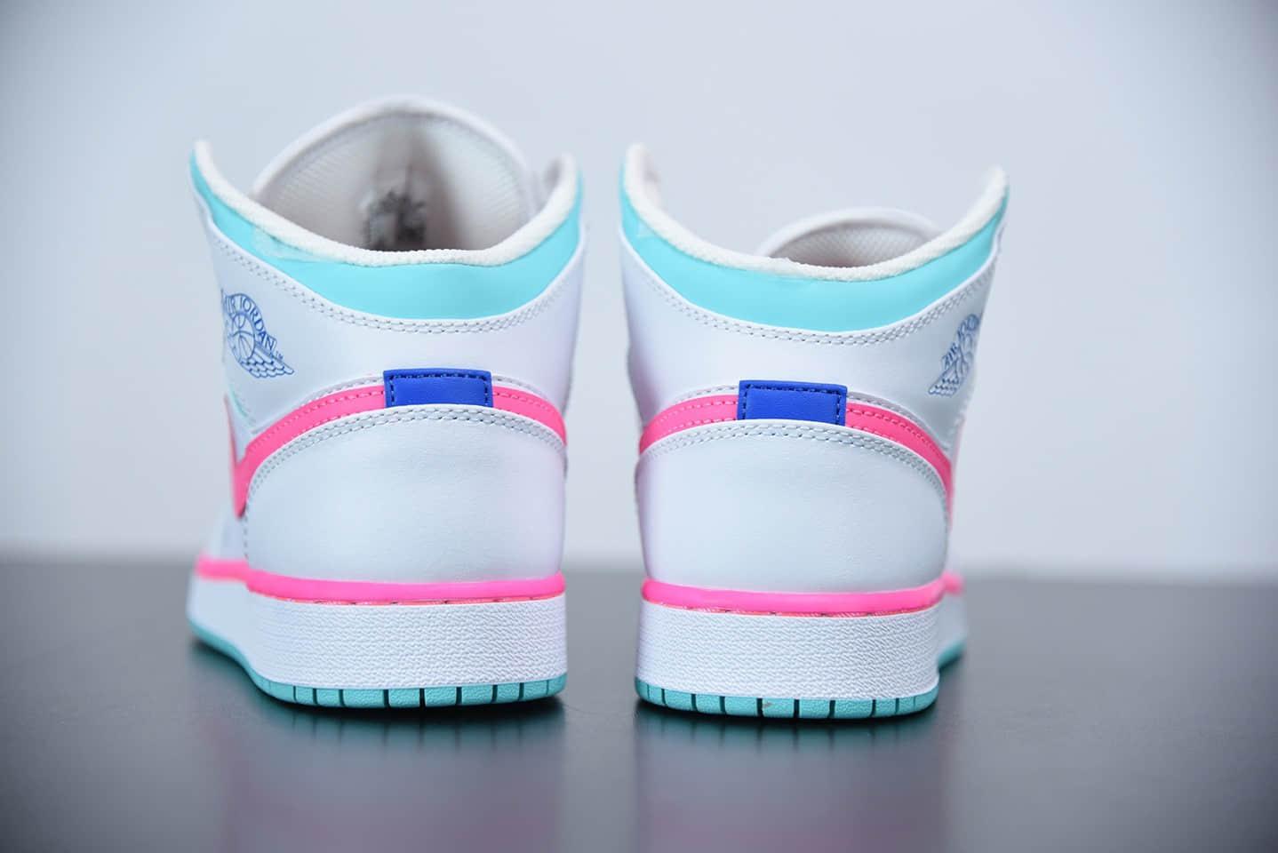 """乔丹Air Jordan 1 Mid GS """"Digital Pink"""" 南海岸水月粉女子中帮休闲鞋纯原版本 货号:555112-102"""