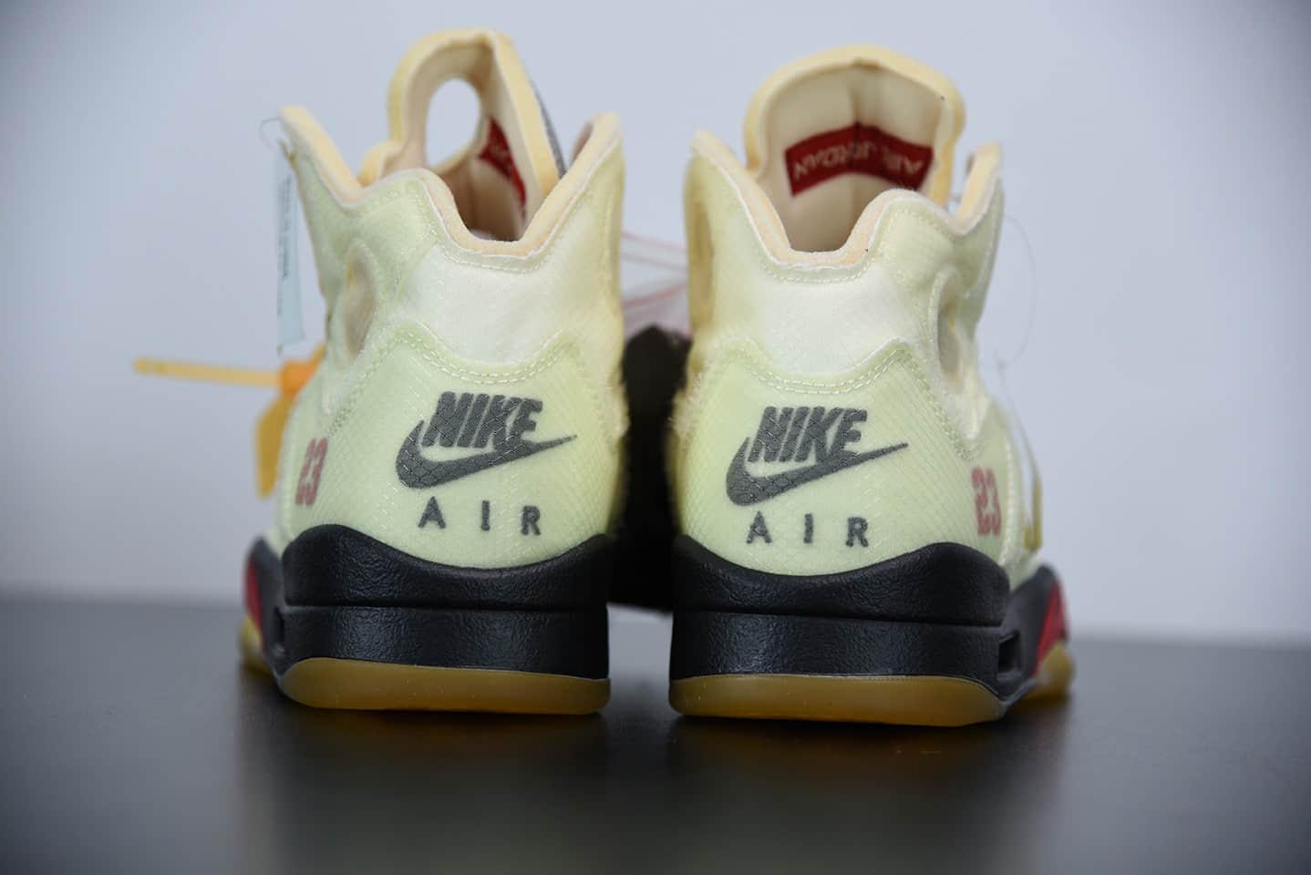 乔丹Air Jordan 5 x off white 联名款金蝉翼篮球鞋纯原版本 货号:DH8565-100