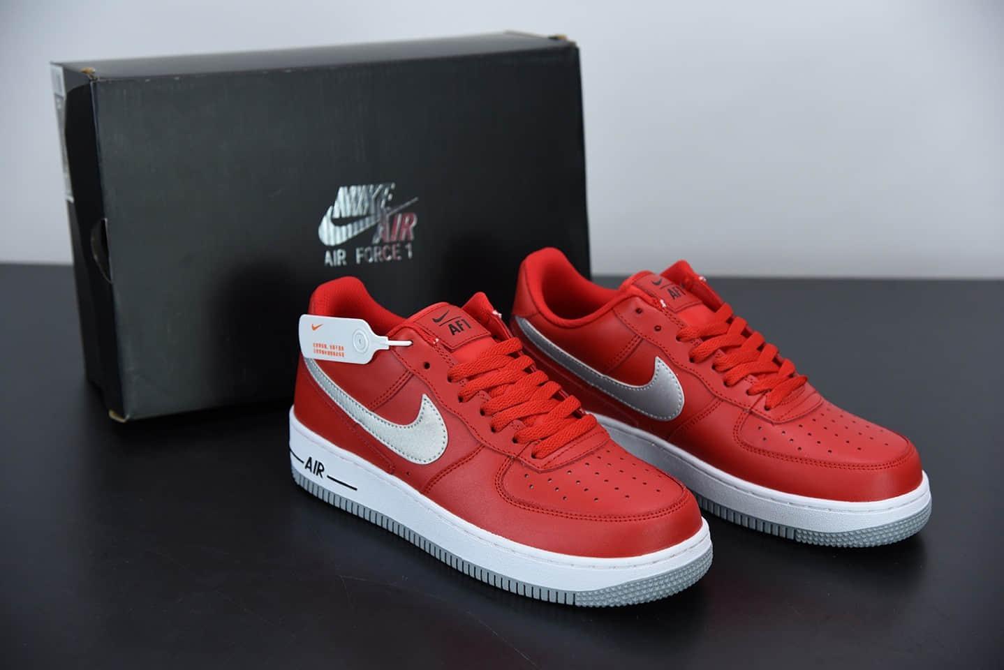 耐克Nike Air Force 1'07Summit White灰红后跟几何涂鸦空军一号经典低帮百搭休闲运动板鞋纯原版本 货号:DD7113-600