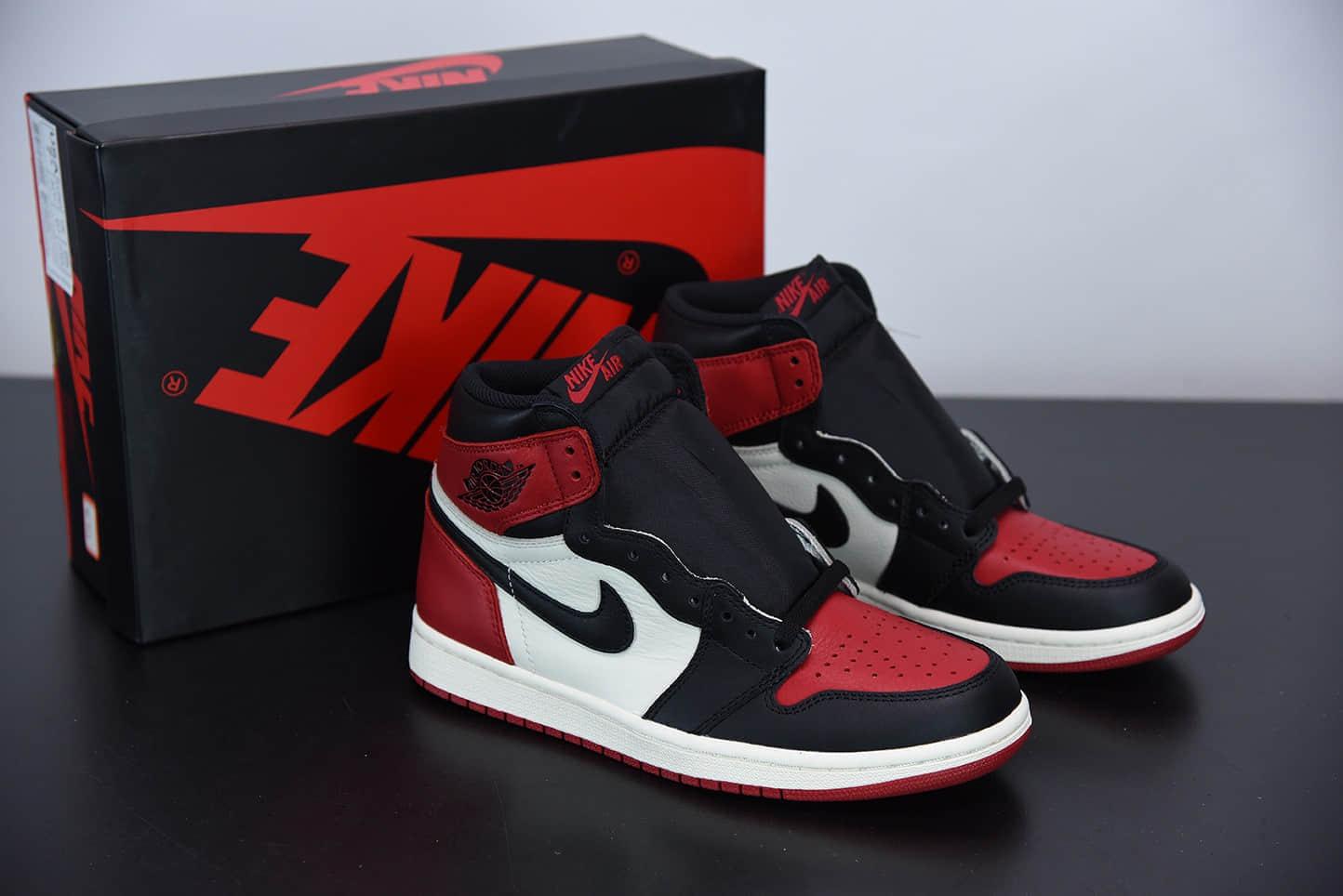 """乔丹AIR JORDAN Retro High OG """"Bred Toe"""" 黑红脚趾高帮文化篮球鞋纯原版本 货号:555088-610"""