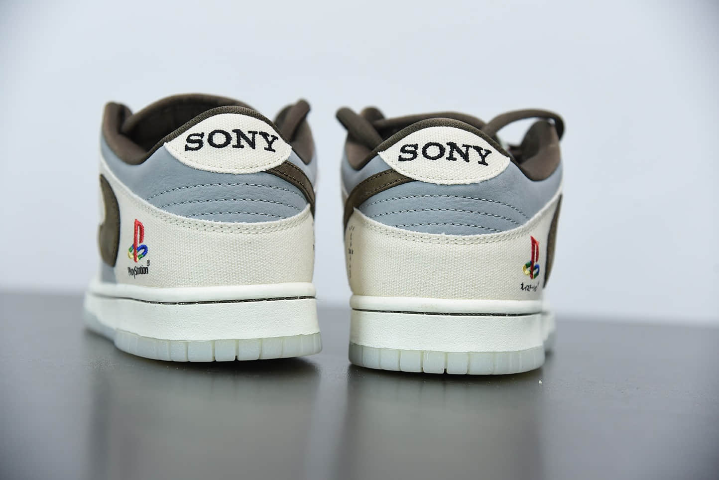 耐克Travis Scott x Playstation x SB Dunk Low 三方联名米白雾蓝低帮滑板鞋纯原版本 货号:CU1726-800