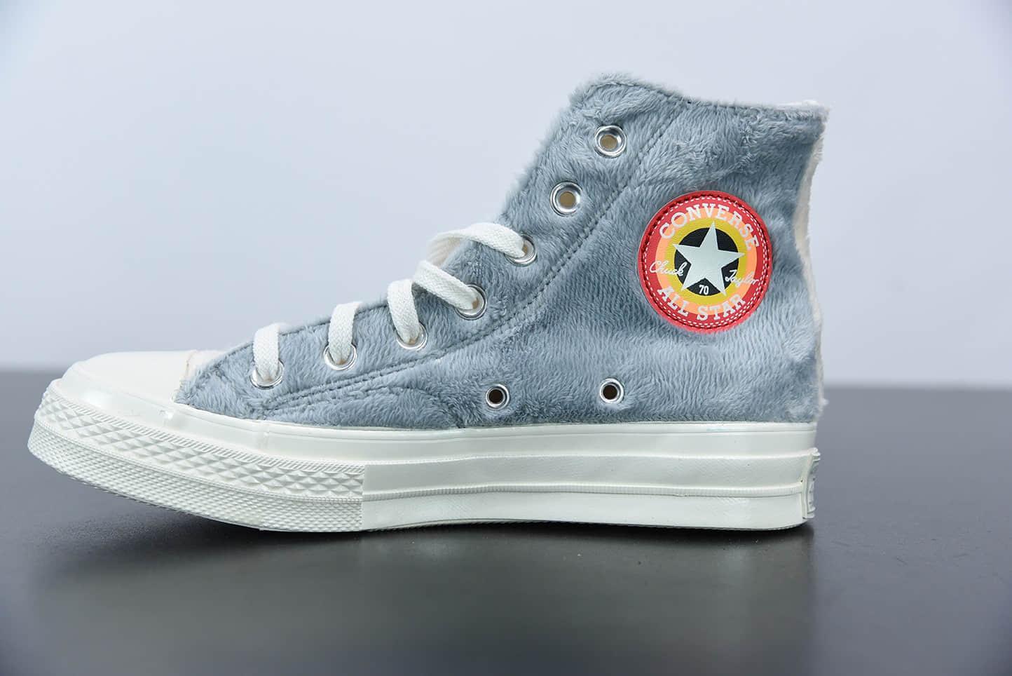 匡威Bug Bunnyx Converse Chuck Taylor All Star 1970 HighTop Grey毛绒灰米兔八哥复古三星标高帮休闲运动硫化百搭板鞋纯原版本 货号:169222C