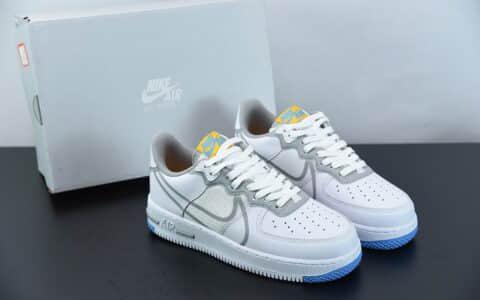 耐克Nike Air Force 1 React DMSX 空军一号白灰蓝解构瑞亚轻量低帮百搭板鞋纯原版本 货号:CT1020-100