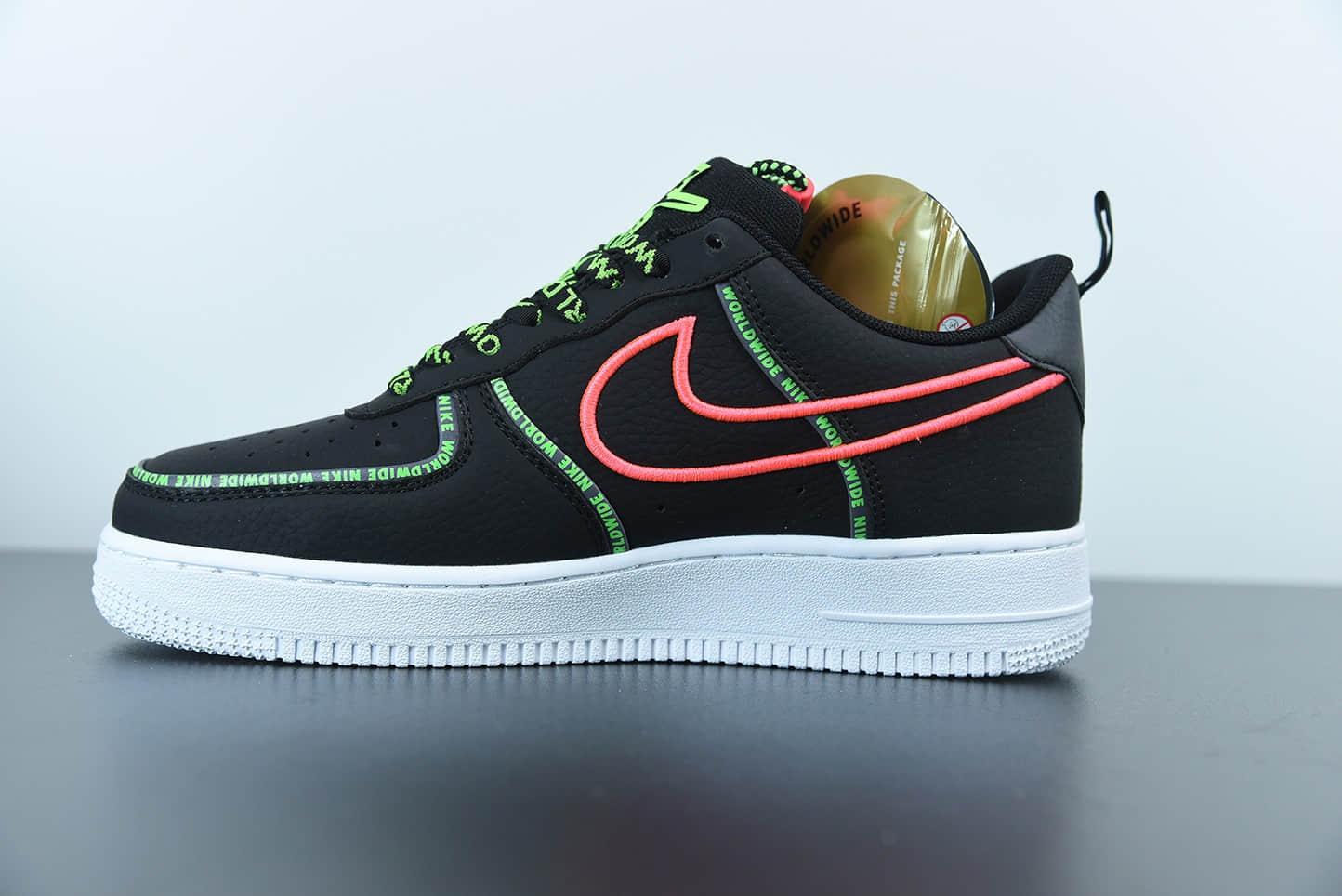 """耐克Nike Air Force 1'07 Low """"World Wide""""空军一号黑绿粉色字母弹幕花纹刺绣钩子低帮板鞋纯原版本 货号:CK7213-001"""