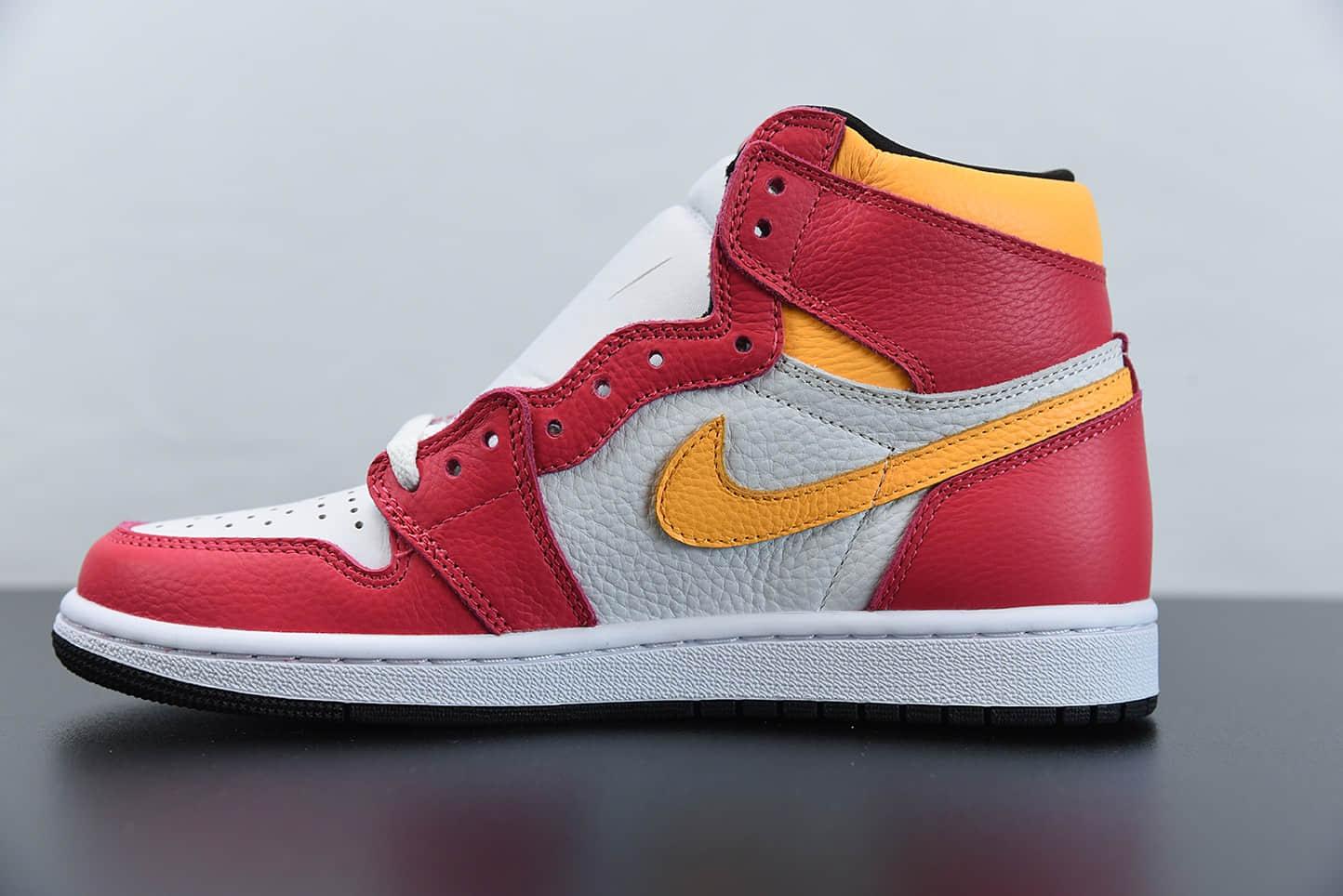 """乔丹Air Jordan 1""""SailUniversity Red""""亡灵节奥运白红高帮篮球鞋纯原版本 货号:555088-603"""