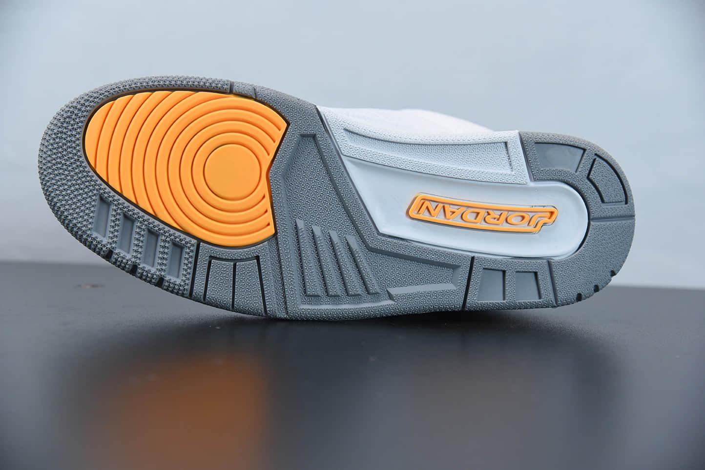 """乔丹Air Jordan 3 """"Laser Orange""""白黄湖人配色中帮复古休闲运动文化篮球鞋纯原版本 货号:CK9246-108"""