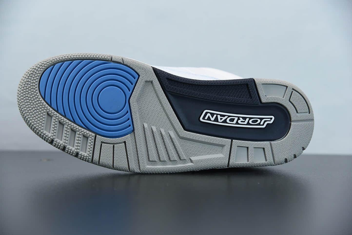 """乔丹Air Jordan 3 """"UNC"""" 北卡蓝配色白爆蓝裂纹文化篮球鞋纯原版本 货号:CT8532-104"""
