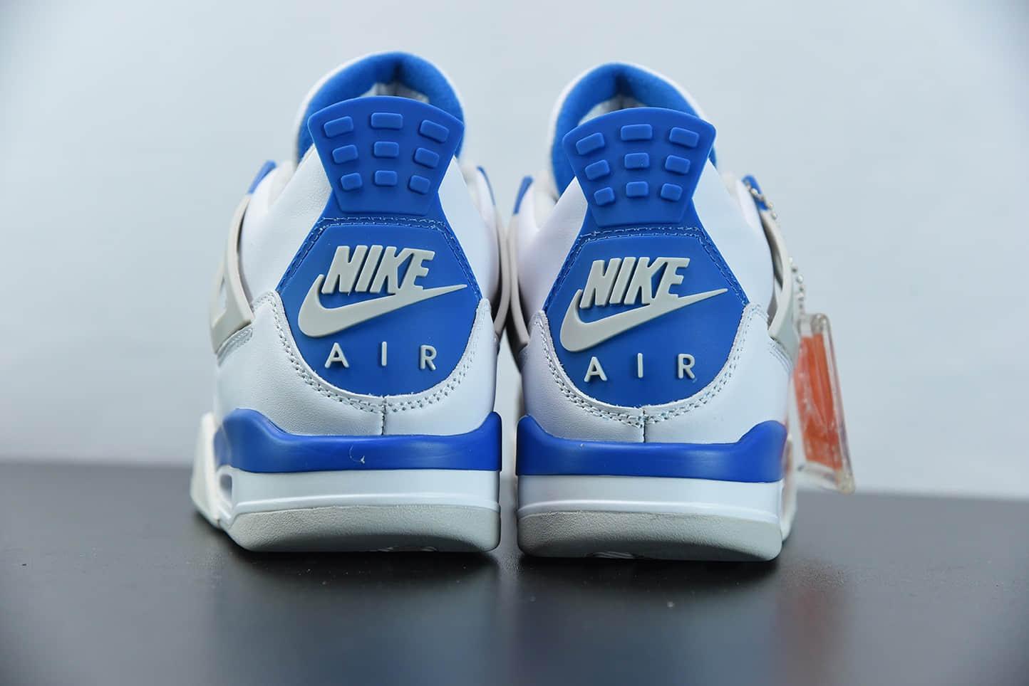 """乔丹Air Jordan 4 OG """"Military Blue"""" 白蓝休闲运动文化篮球鞋纯原版本 货号:308497-105"""