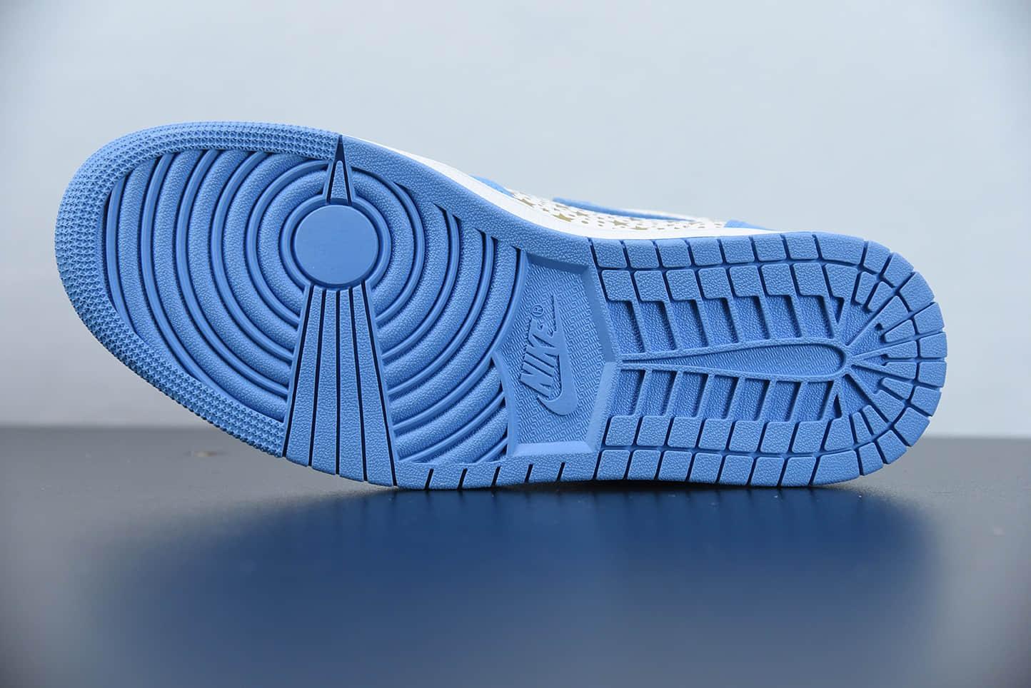 """乔丹Supreme x AirJordan Retro AJ1""""蓝色星星复古高帮板鞋纯原版本 货号:555088-181"""