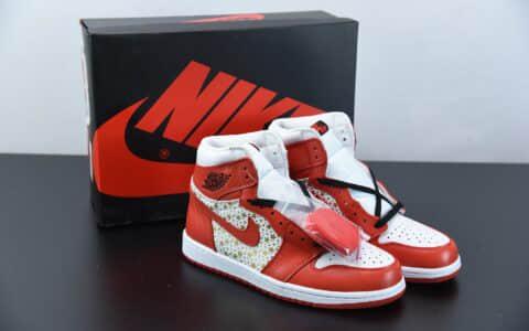 乔丹Supreme x AirJordan Retro红色星星复古高帮篮球鞋纯原版本 货号:555088-600