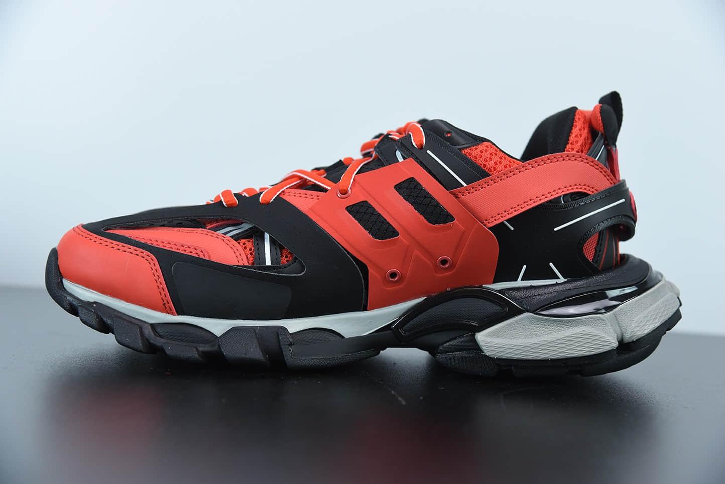 巴黎世家Balenciaga Track Clear Sole黑红低帮网布尼龙运动鞋纯原版本