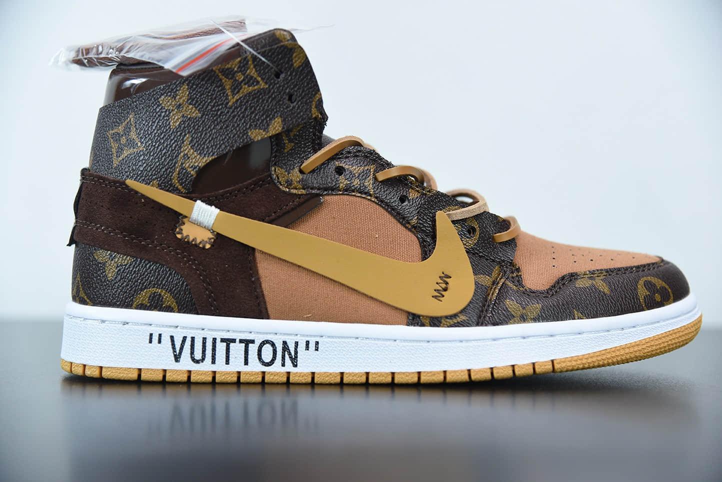 乔丹Louis Vuitton x OFF WHITE - Air Jordan 1 乔丹LV经典联名中帮行李箱版本潮流情侣运动休闲板鞋纯原版本 货号:AQ0818-158