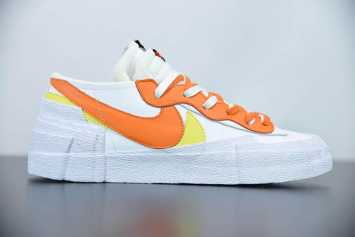 耐克Sacai x Nk Blazer low 白橙解构全新联名开拓者低帮休闲板鞋纯原版本 货号:DD1877-100