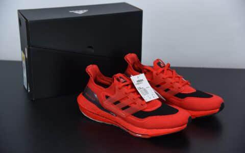 阿迪达斯 Adidas UltraBoost 21 黑红色加厚爆米花袜套式针织鞋面休闲运动慢跑鞋纯原版本 货号:FY0387
