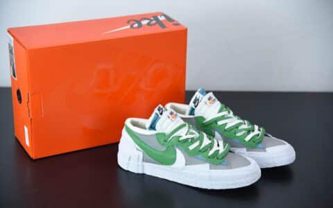 耐克Sacai x Nk Blazer Low 耐克全新联名开拓者白灰绿解构低帮休闲板鞋纯原版本 货号:DD1877-001