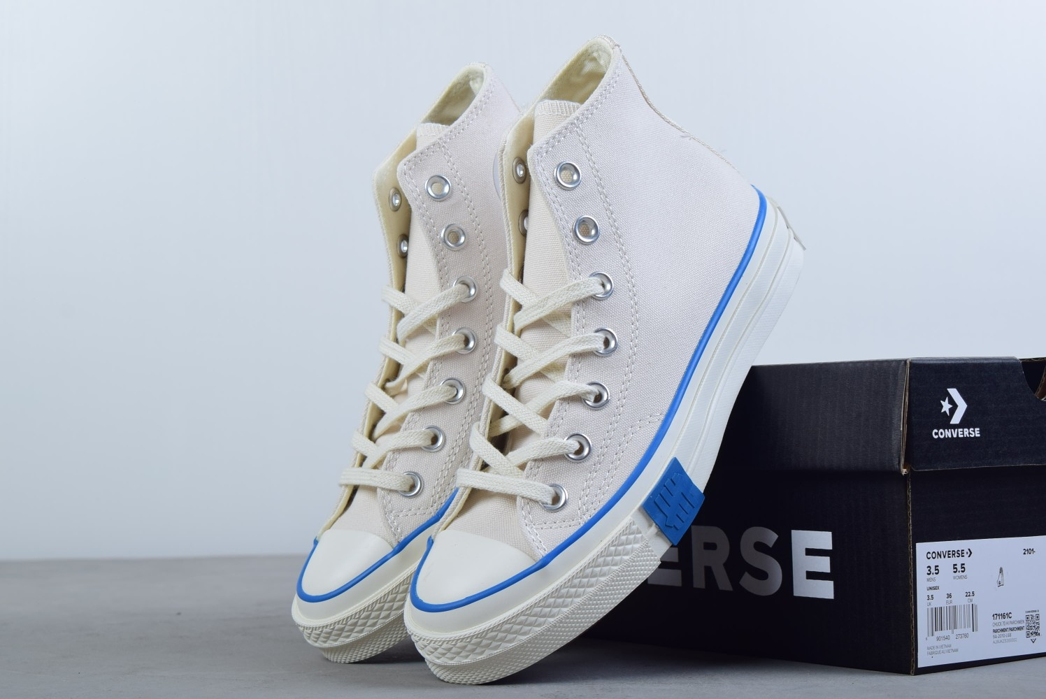 匡威Converse x undefeated 洛杉矶潮牌合作款白蓝高帮帆布鞋纯原版本 货号:171161C
