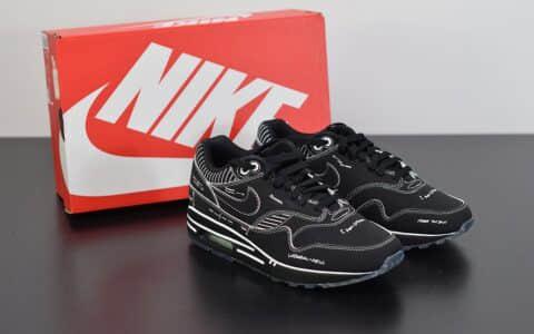 耐克atmos x NIKE Air Max 1 Animal Pack 3.0 联名手稿黑色线条复古气垫鞋纯原版本 货号:CJ4286-001