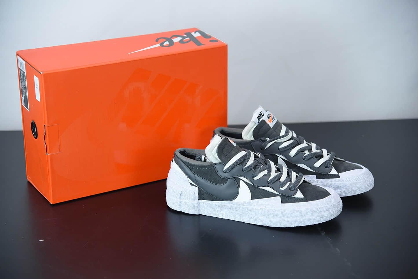 耐克Sacai x Nk Blazer Low 耐克全新联名开拓者黑白解构低帮休闲板鞋纯原版本 货号:DD1877-002
