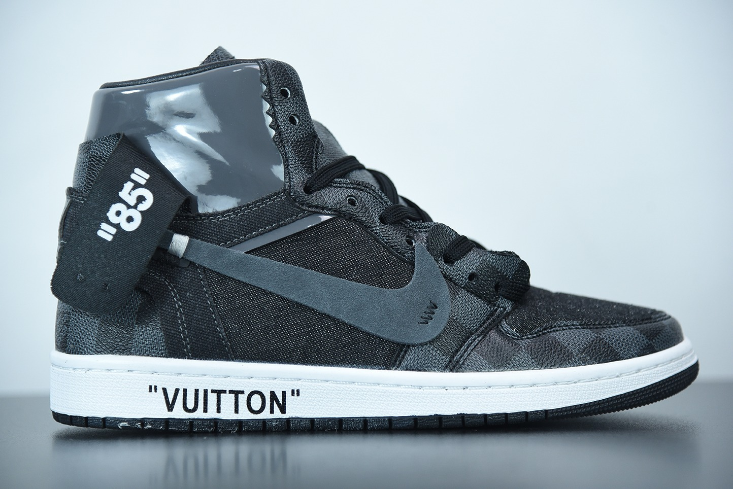 乔丹Louis Vuitton x OFF WHITE – Air Jordan 1 乔丹LV经典联名中帮行李箱版本潮流情侣运动休闲板鞋纯原版本 货号:AQ0818-158