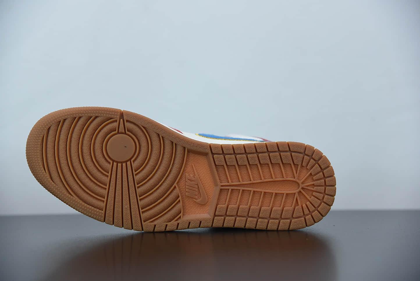 乔丹Air Jordan 1 Mid 黑白红灯芯绒蓝勾中帮休闲板鞋纯原版本 货号:DC1426-100