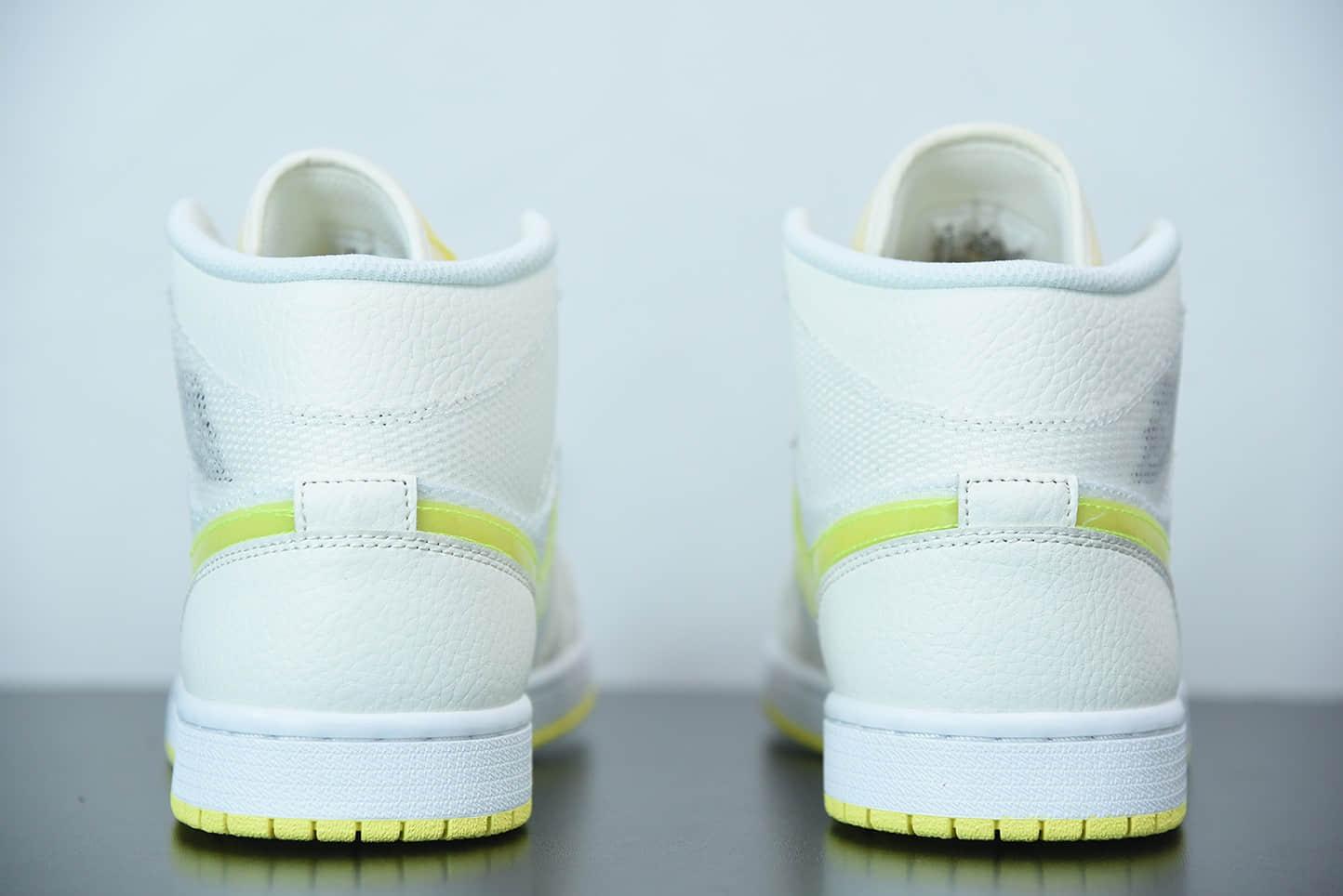乔丹WMNS Air Jordan 1 Mid SE中帮白米黄网步款百搭休闲运动板鞋纯原版本 货号:DB2822-107