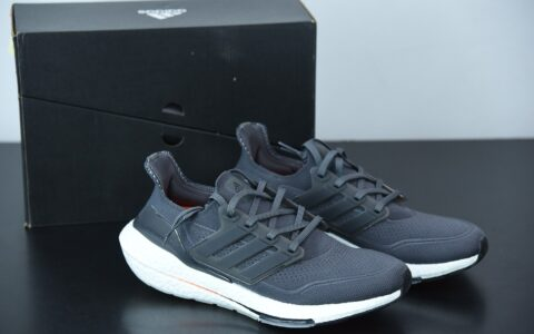 阿迪达斯 Adidas ultra boost 2021系列黑白橙配色袜套式针织鞋面休闲运动慢跑鞋纯原版本 货号:FY0372