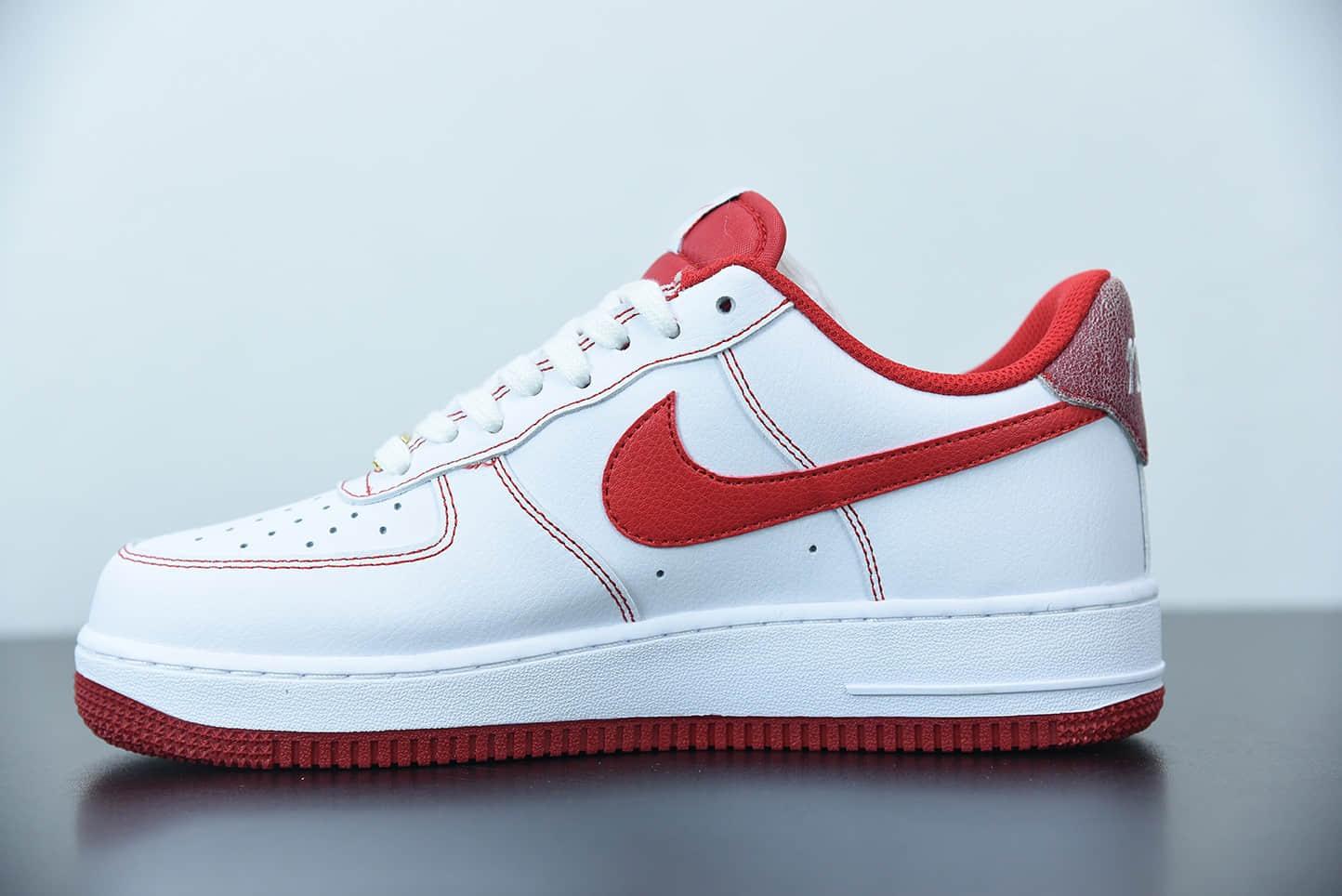 耐克 NIKE AIR FORCE 1'07 白红缝线空军一号低帮休闲板鞋纯原版本 货号:DA8478-101
