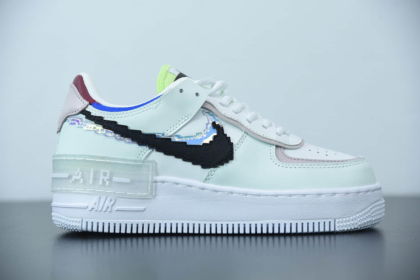 耐克Nike Air Force 1 Shadow 白粉像素拼接马卡龙轻量增高低帮百搭板鞋纯原版本 货号:CV8480-300