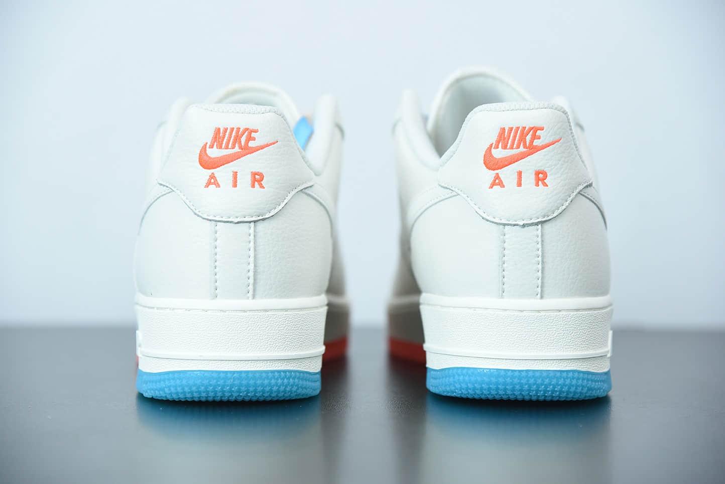 耐克 Nike Air Force 1 白橙蓝双钩空军一号低帮运动休闲板鞋纯原版本 货号:CT1989-103