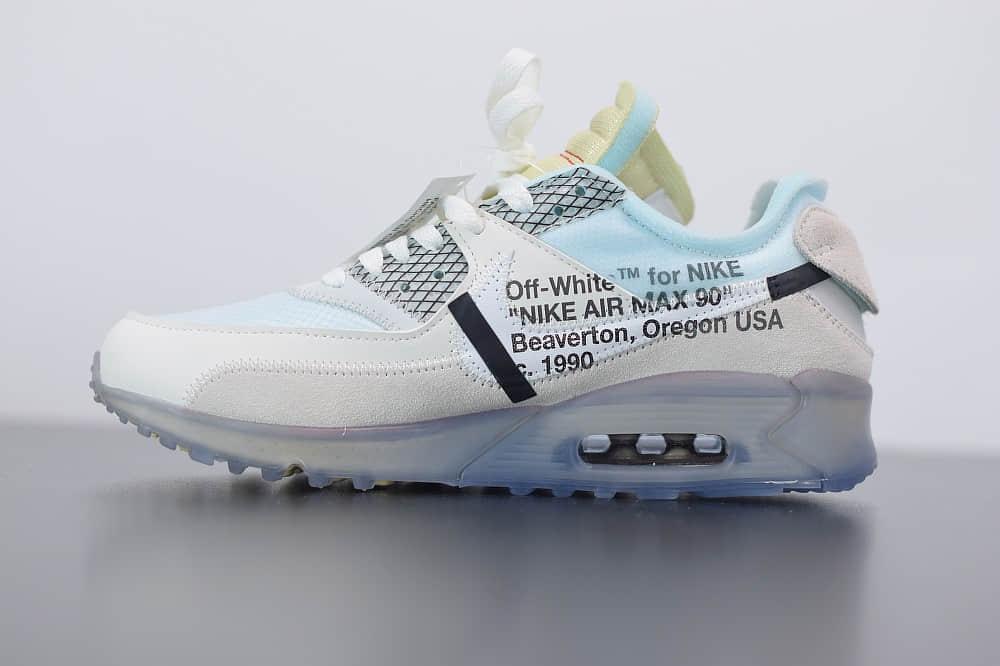 耐克 Nike Off-White™ x Nike Air Max 90  Ice 10X THE TEN白灰冰蓝橘初代复古气垫百搭休闲运动慢跑鞋纯原版本 货号:AA7293-100