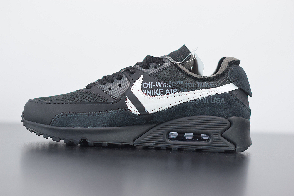 耐克 Nike Off -White x Nike Air Max 90黑色 OW 耐克联名款限量经典气垫跑鞋纯原版本 货号:AA7293-001