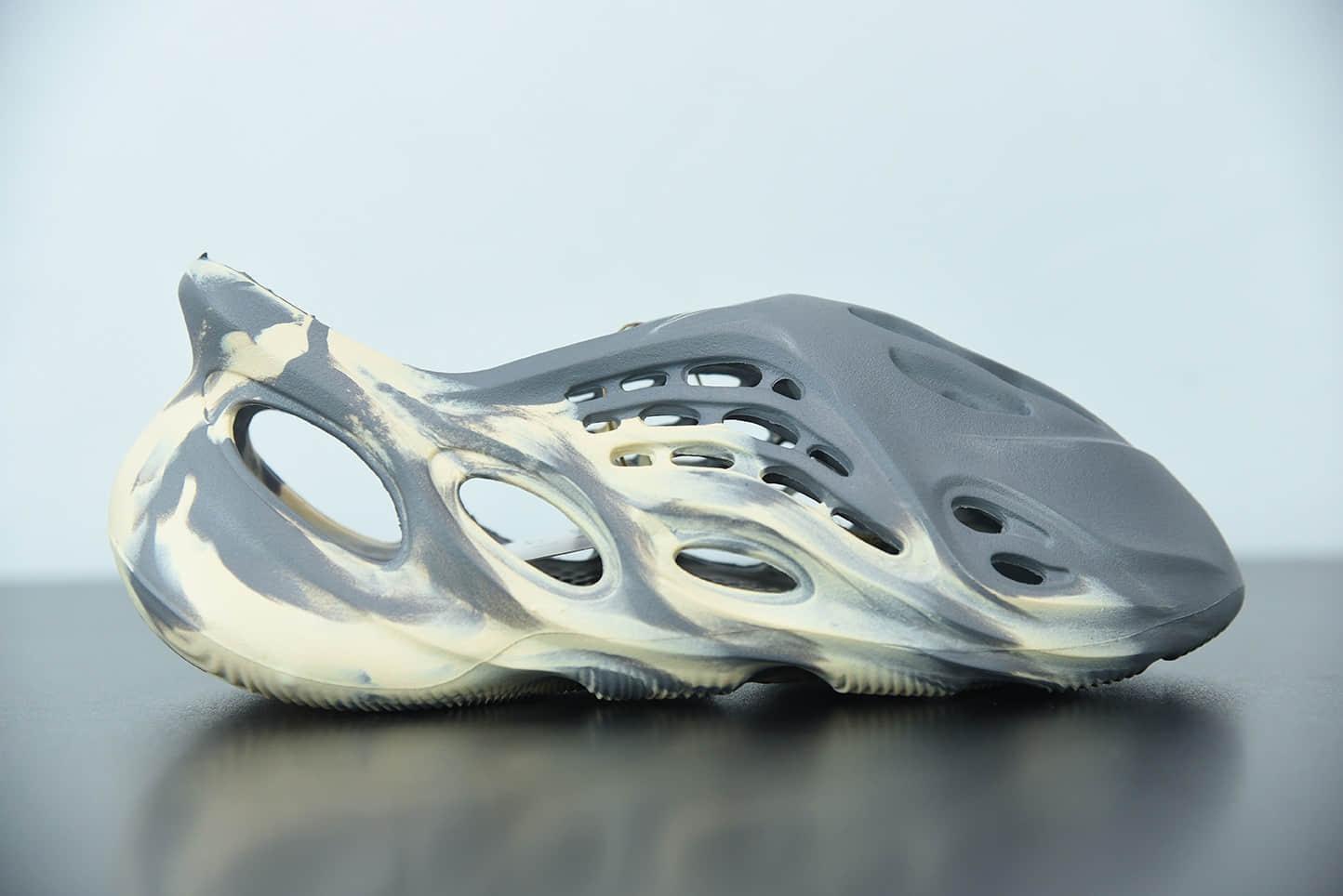 """阿迪达斯Adidas Yeezy Foam Runner """"MXT Moon Grey""""灰黄大理石洞洞鞋纯原版本 货号:GY7904"""