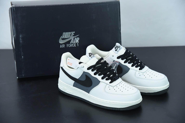 """耐克 Nike Air Force 1 Low '07 """"米白碳灰拼接""""低帮空军一号休闲板鞋纯原版本 货号:CL2026-113"""