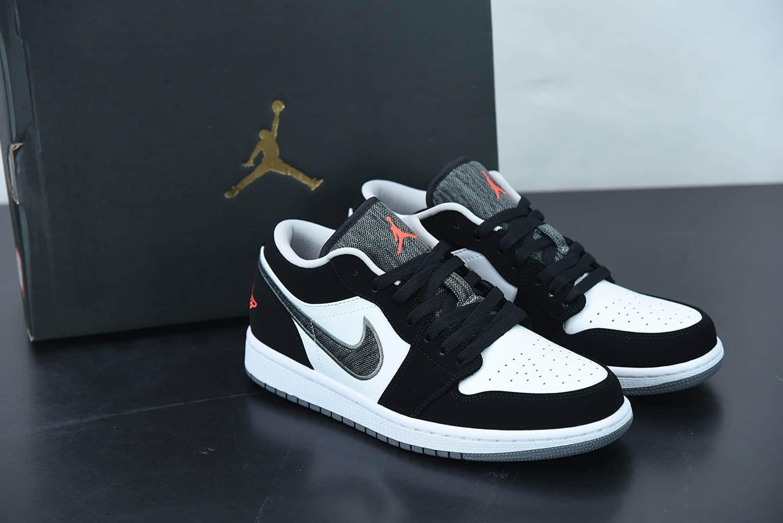 乔丹Air Jordan 1 Retro LowBlack Infrared黑白红深灰帆布钩子低帮经典复古文化休闲运动篮球鞋纯原版本 货号:553558-029