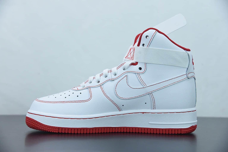 耐克 Nike Air Force 1 High '07 空军一号白红高帮休闲板鞋纯原版本 货号:CV1753-100