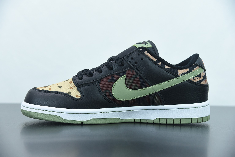 """耐克 Nike SB Dunk Low """"Black Multi-Camo"""" 迷彩不对称鸳鸯黑迷彩低帮运动休闲板鞋纯原版本 货号:DH0957-001"""