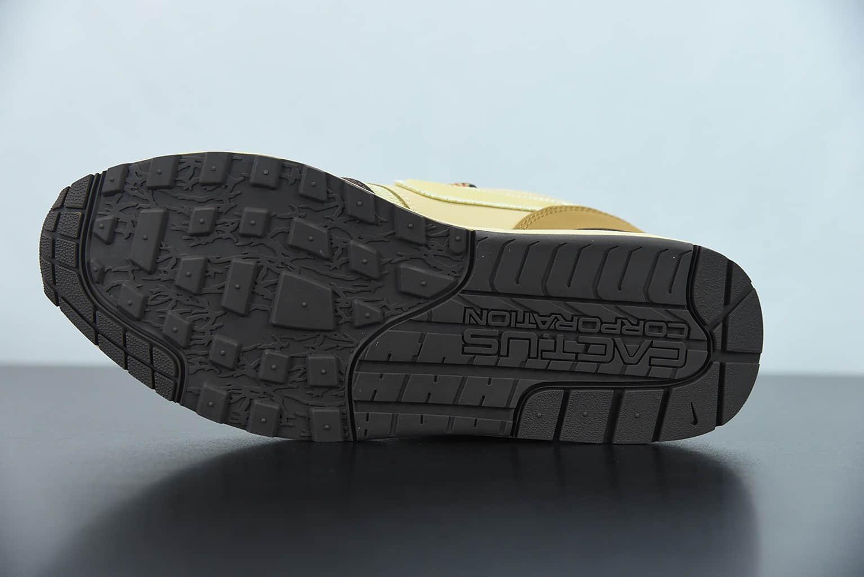 """耐克 NikeTravis Scott x Nk Air Max 1Cactus Jack改版款低帮复古百搭""""深棕麦黄米倒钩低帮复古百搭休闲运动慢跑鞋纯原版本 货号:DO9392-200"""