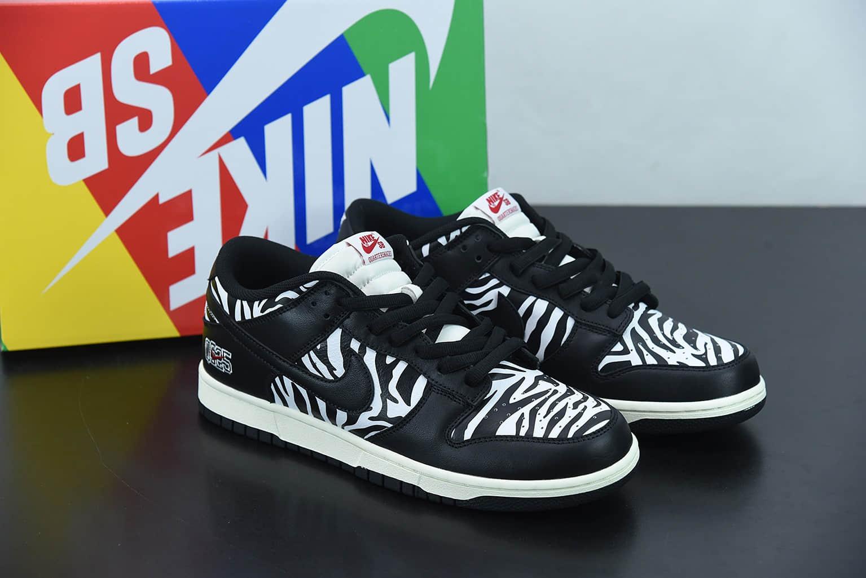 """耐克Quartersnacks x Nike SB Dunk Low """"Zebra"""" 黑白斑马联名款低帮运动休闲板鞋纯原版本 货号:DM3510-001"""